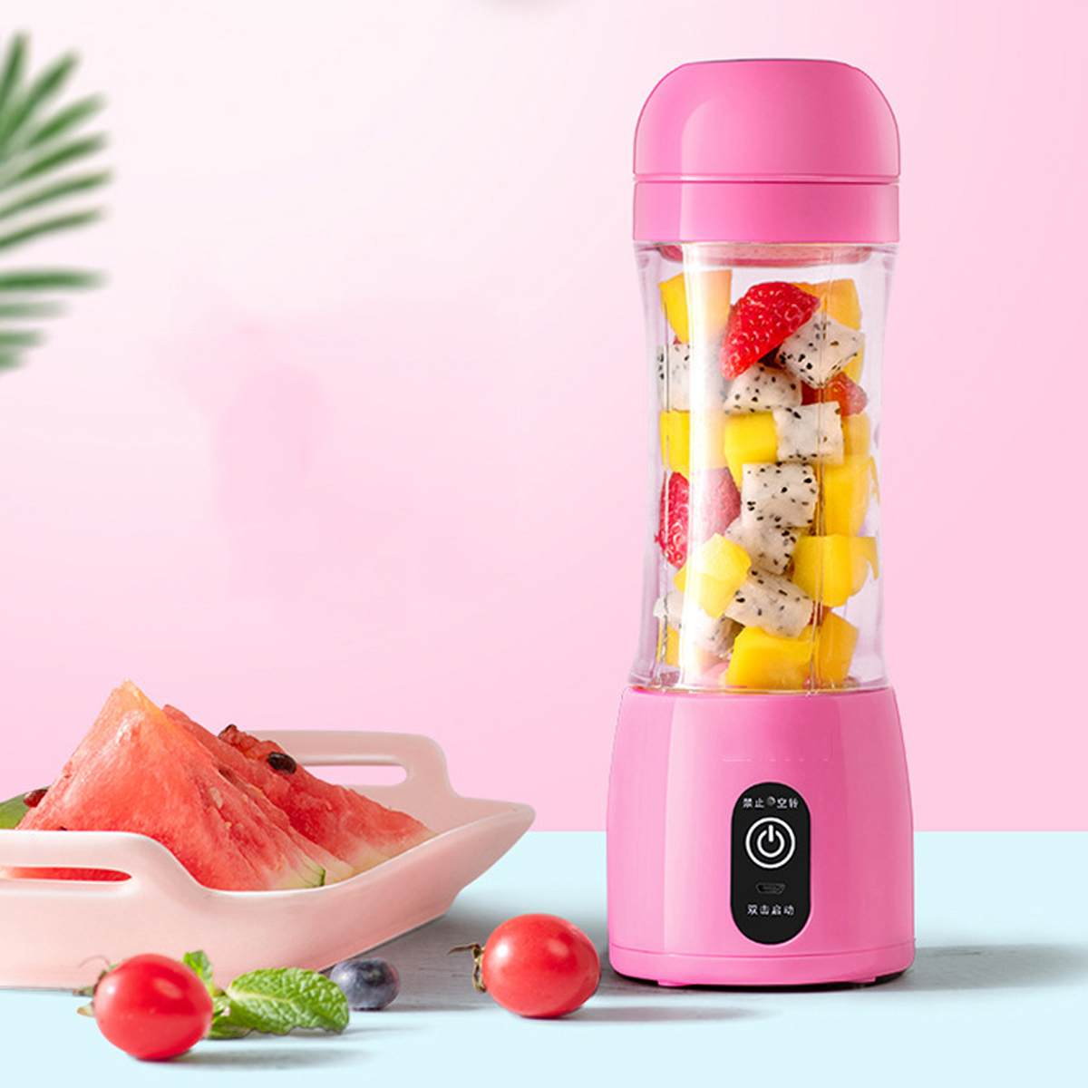 400ml Portable Juicer Electric USB Rechargeable Smoothie Machine Mixer Mini Juice Cup Maker Fast Food Processor With Strainer