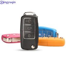 Jingyuqin botón 3 plegable funda para mando a distancia del coche para Volkswagen Passat VW Golf Polo, Jetta, Touran, Bora Sharan