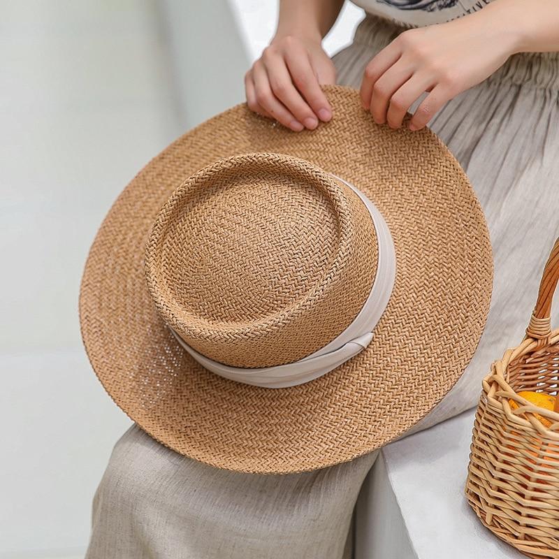 Ladies Handmade Natural Straw Hat Summer Beach Hat For Women Men Panama Cap Fashion Concave Flat Protetion Visor Sun Boat Hats