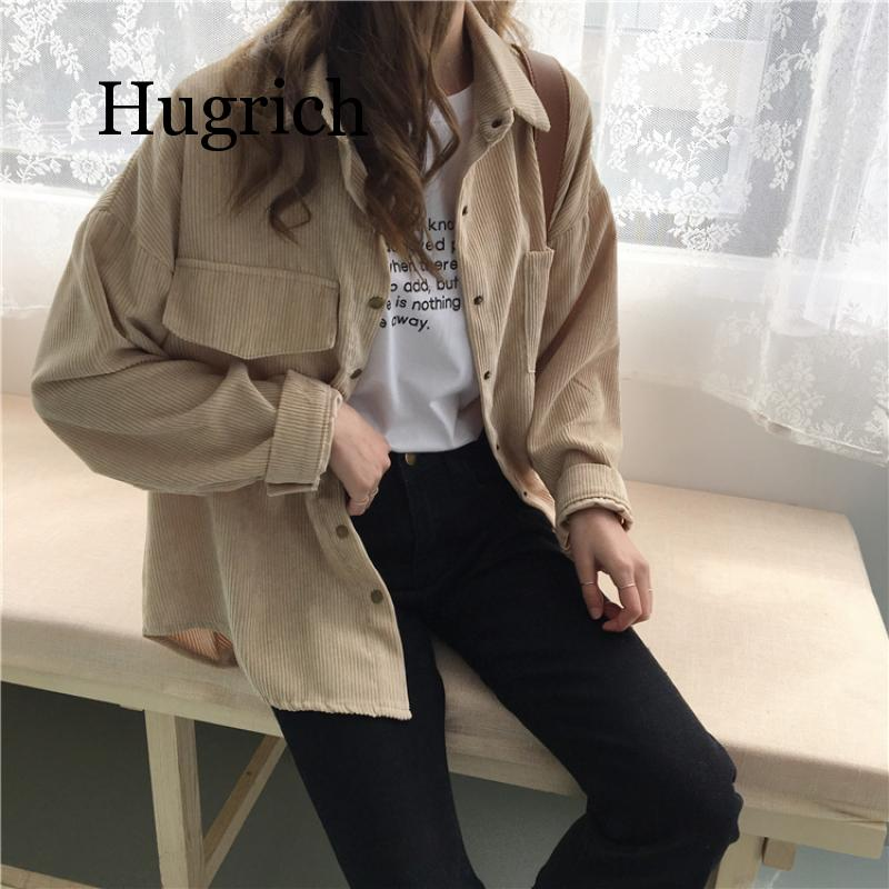 2020 Spring and autumn Loose Shirts Korean Solid Blouse Long Sleeve Corduroy blouses Women Tops outwear coats 3