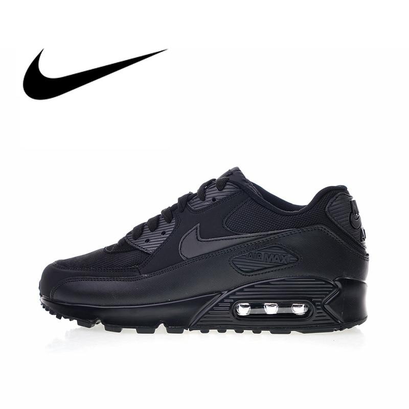 Original Autêntica Nike Air Max 90 Essencial dos homens Correndo Sapatos Sapatos de Desporto Ao Ar Livre Respirável Sneakers 2018 Nova Chegada 537384- 090