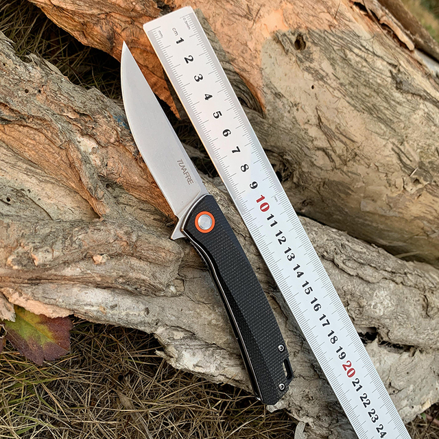 Folding knife Ball bearing tactical knives D2 Blade High-end linen handle outdoor Hunting knife EDC Camping Multi Tools TUNAFIRE 1