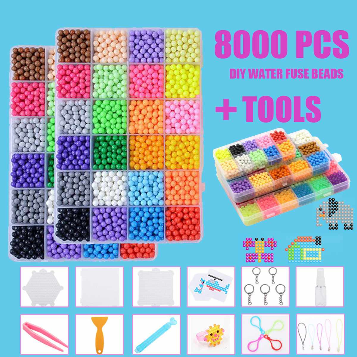 8000pcs Children Beads Crafts For Kids DIY Beads Crystal Creative Material Kids Beads Water Spray Magic Puzzle Toys For Children