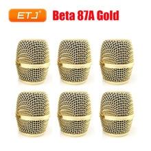 Beta87A rejilla de bola de malla para Shure Ball, repuesto de cabeza dorada, Beta 87A, accesorios al por mayor, 6 uds.