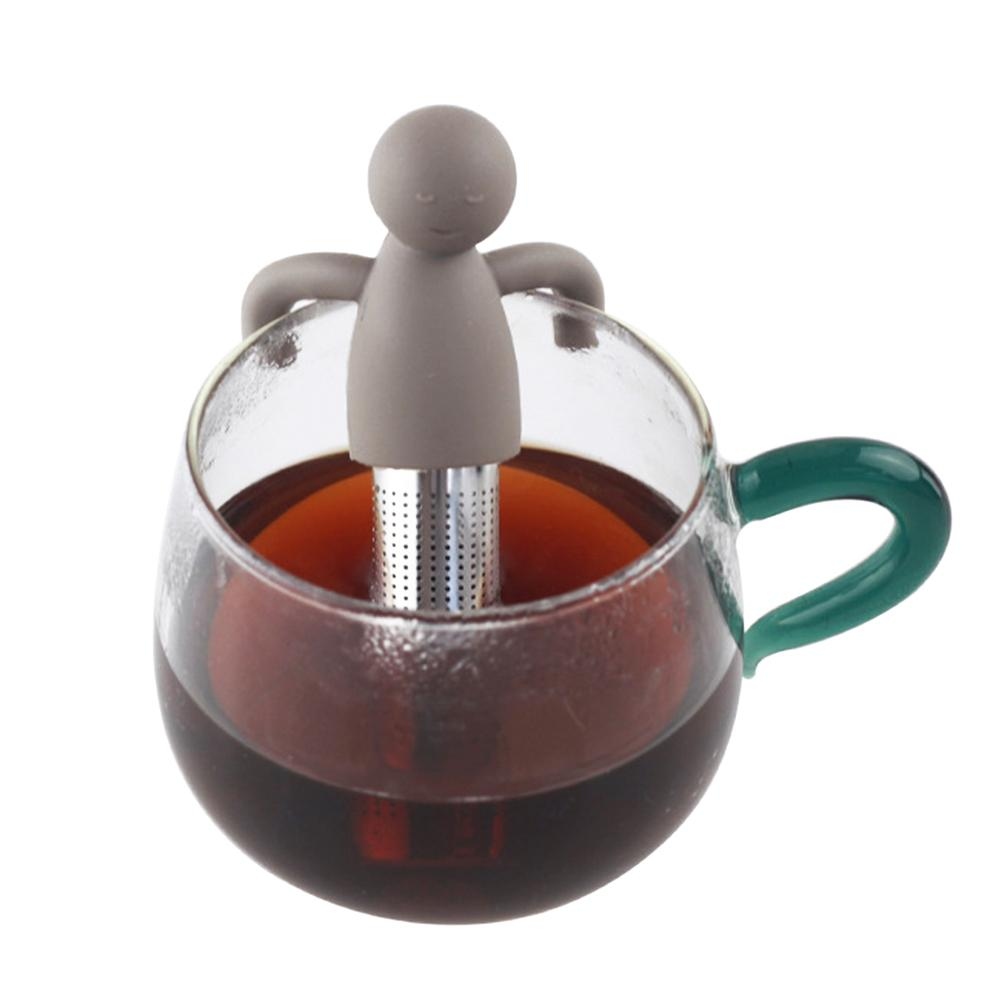 1pc Tea Strainer Mister Teapot 304 Stainless Steel Silicone Little Man Tea Infuser Filter Teapot Herbal Tea Coffee Filter