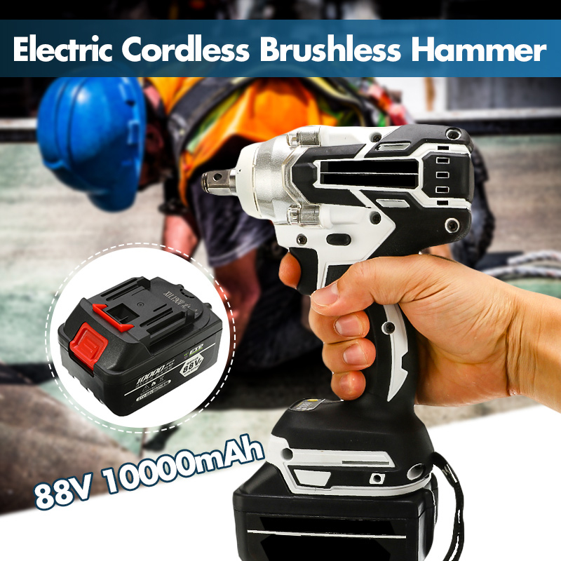 88V 1280W Electric Impact Cordless Brushless Hammer Drill Driver Hand Drill Hammer Power Tool 360-520NM 10000mAh