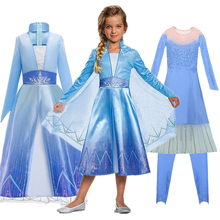 New Snow Queen Elsa 2 Christmas Dress Kids Halloween Carnival Costume Girls Crystal Light Blue Long Sleeve Princess Dress