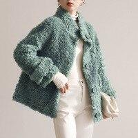 OFTBUY 2021 New Fashion Luxury Winter Jacket Women cappotto in vera pelliccia maglieria in lana colletto rovesciato capispalla caldo spesso marca