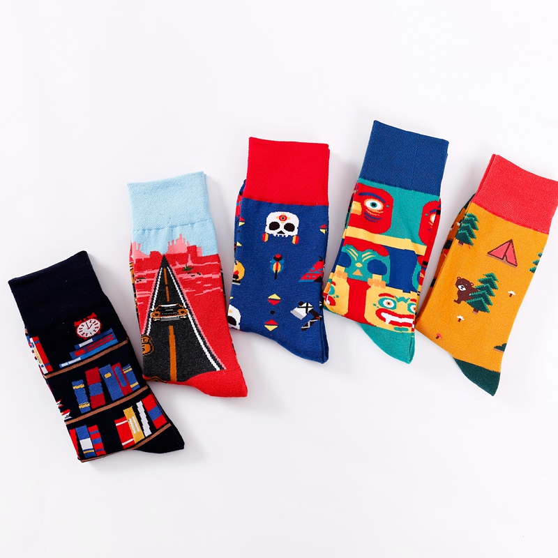 Cotton Socks Women Men Cute Cartoons Animals Bear Bird Plant Book Unisex Cool Funny Socks Happy Socks Adult Casual Crew Socks