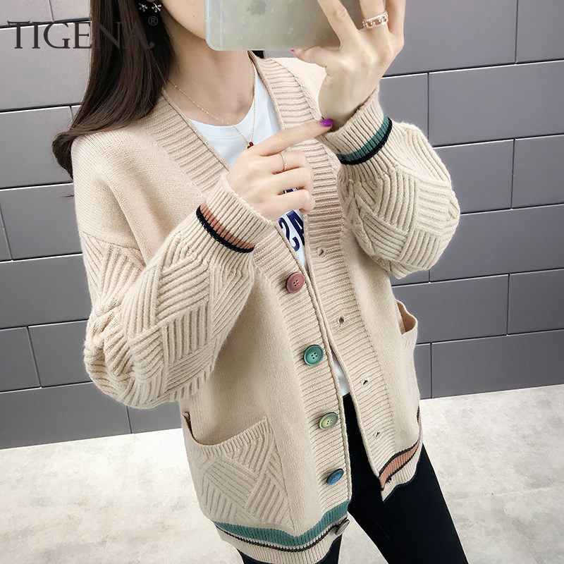 TIGENA Women Knitted Jacket 2019 Autumn Winter Loose Long Sleeve Cardigan For Women With Single Breasted Pocket Cardigan Female