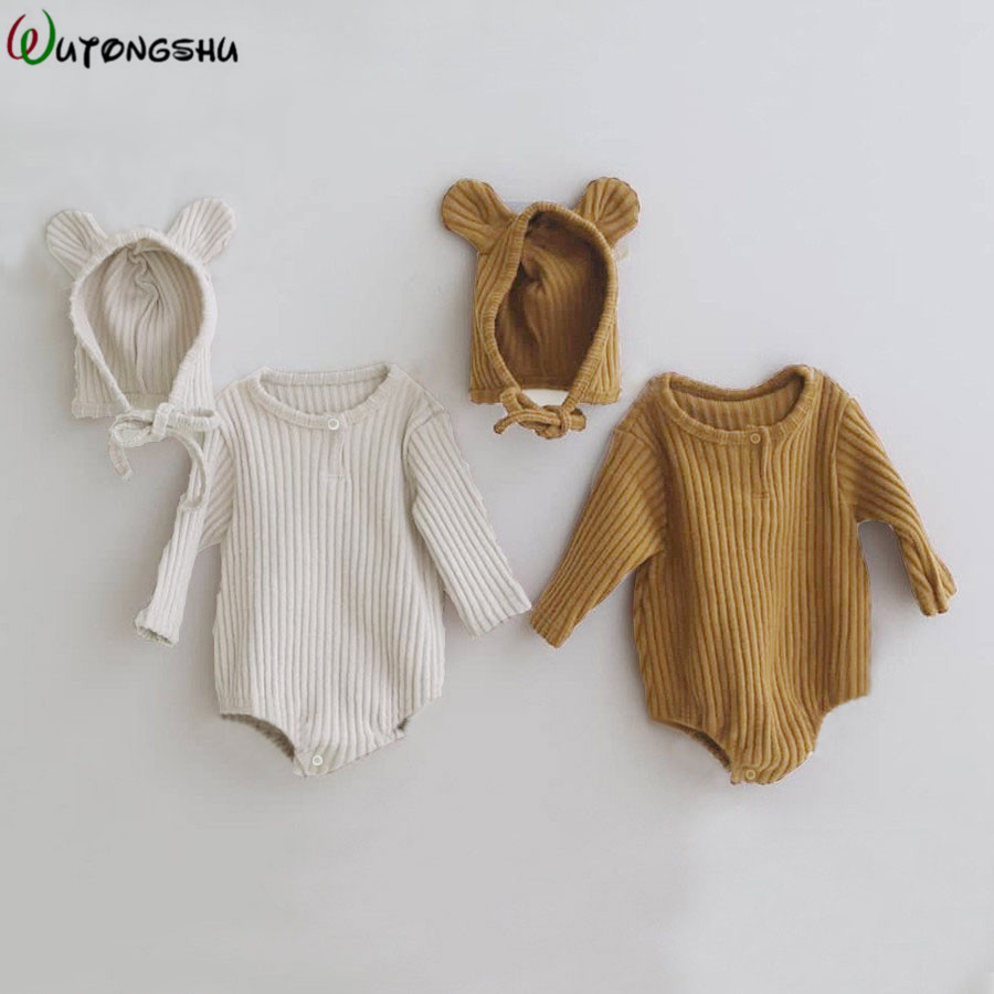 Newborn Boy Bodysuits Spring Infant Cotton Long Sleeve Unisex Bebe Boy Girls Clothes Baby Clothing Brown Bear Boy Body Tops