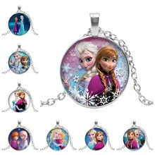Hot! New Cartoon Princess Round Image Glass Dome Pendant Girl Charm Embossed Gift Necklace