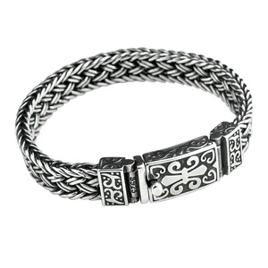 Image 5 - Real 925 prata esterlina cor pulseira masculino e feminino largura 11mm retro punk rock corrente e pulseira thai prata cor