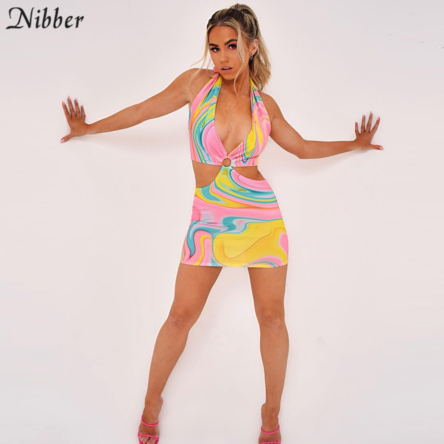 Nibber Club Wild Contrast Hollow Out Woman Dresses Summer Sexy Bodycon Patchwork Streetwear Casual Low-cut Halter Beach Dress 5