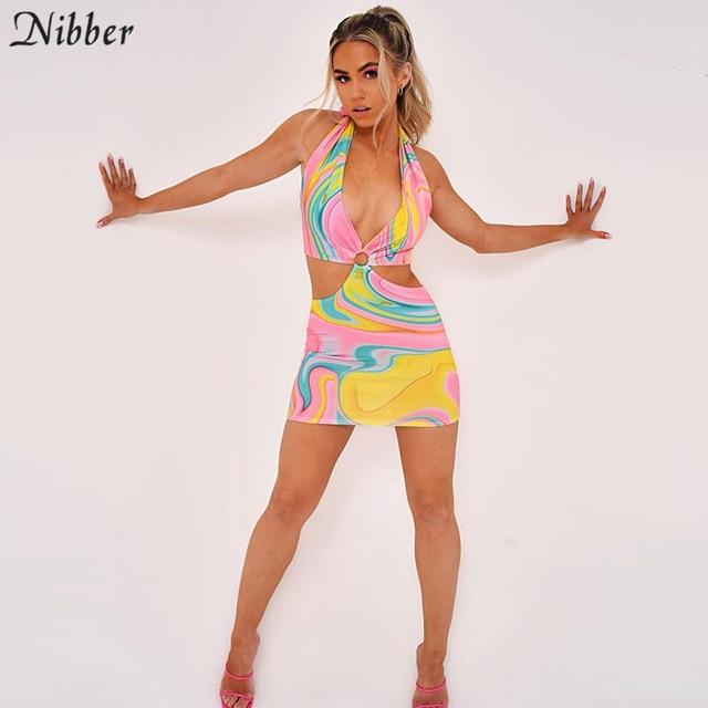 Nibber-Vestidos ahuecados con contraste salvaje para mujer, ropa de calle de retazos, informal, corte bajo, Halter, Sexy, de verano 5