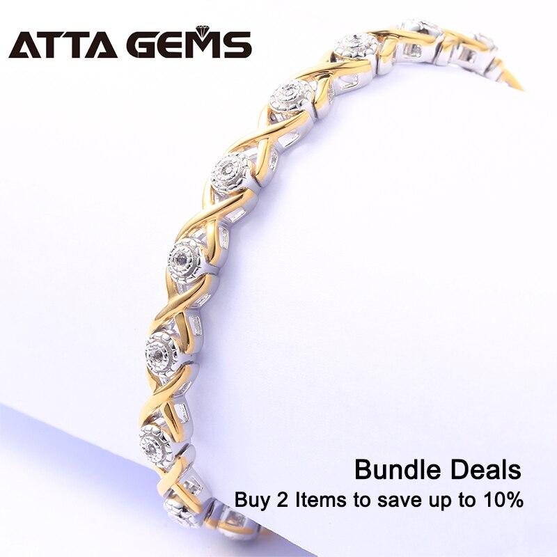 Natürliche Diamant Sterling Silber Armband Gelb Gold Überzogene 100% Natürliche Diamant für Frauen Hochzeit Charming Armband-in Armbänder & Armreifen aus Schmuck und Accessoires bei  Gruppe 2