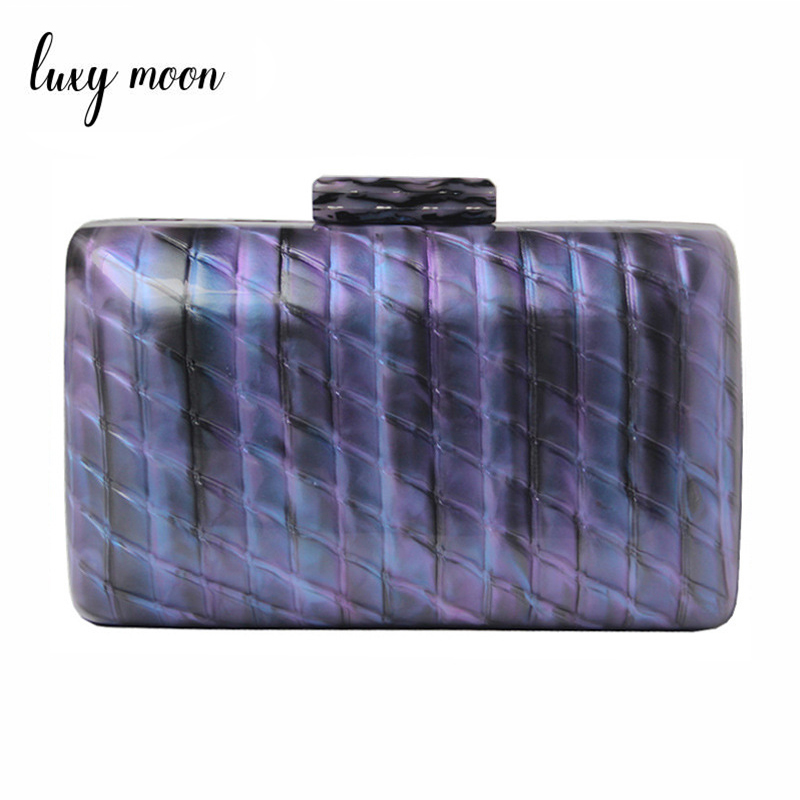 Luxy Moon Women Acrylic Bag Blue Evening Clutch Bag Luxury Bridal Wedding Purse Vintage Party Shoulder Bag ZD1513