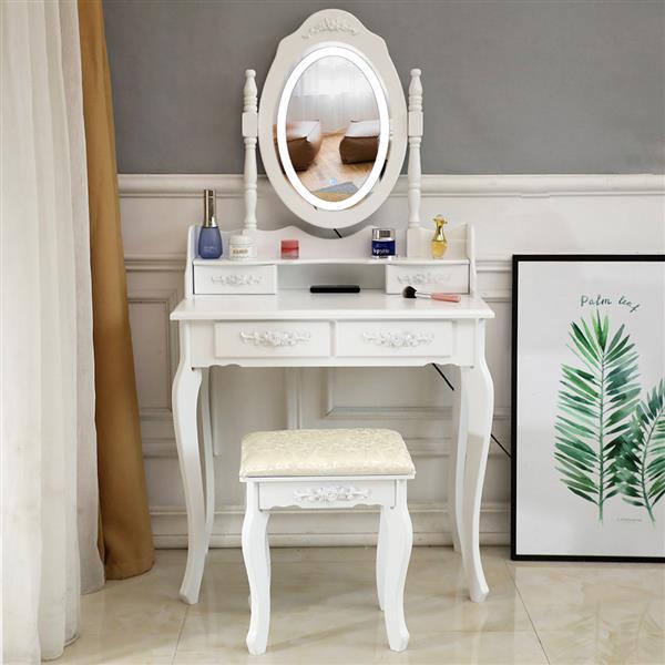 LED simple miroir 4 tiroirs commode blanc finition raffinée, design méticuleux et haute qualité gracieuse et élégante dans