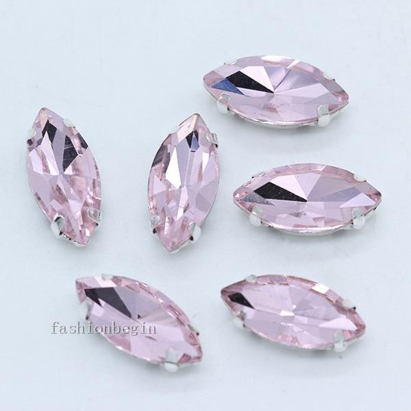 Всех размеров Наветт 24-цветное стекло камень с плоской задней частью, пришить с украшением в виде кристаллов Стразы драгоценные камни бисер с серебряной нитью, бледно-коготь кнопки для одежды аксессуары - Цвет: lt pink