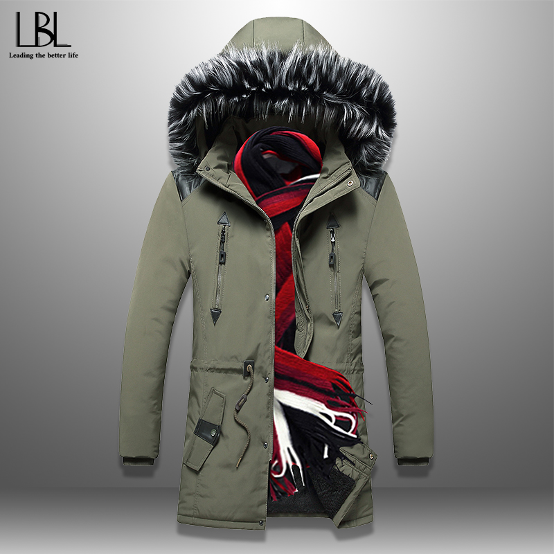 2019 New Fashion Men's Parkas Winter Long Jacket Men Thick Coat Cotton-Padded Jackets Solid Warm Overcoats Fur Collar Hooded 3XL