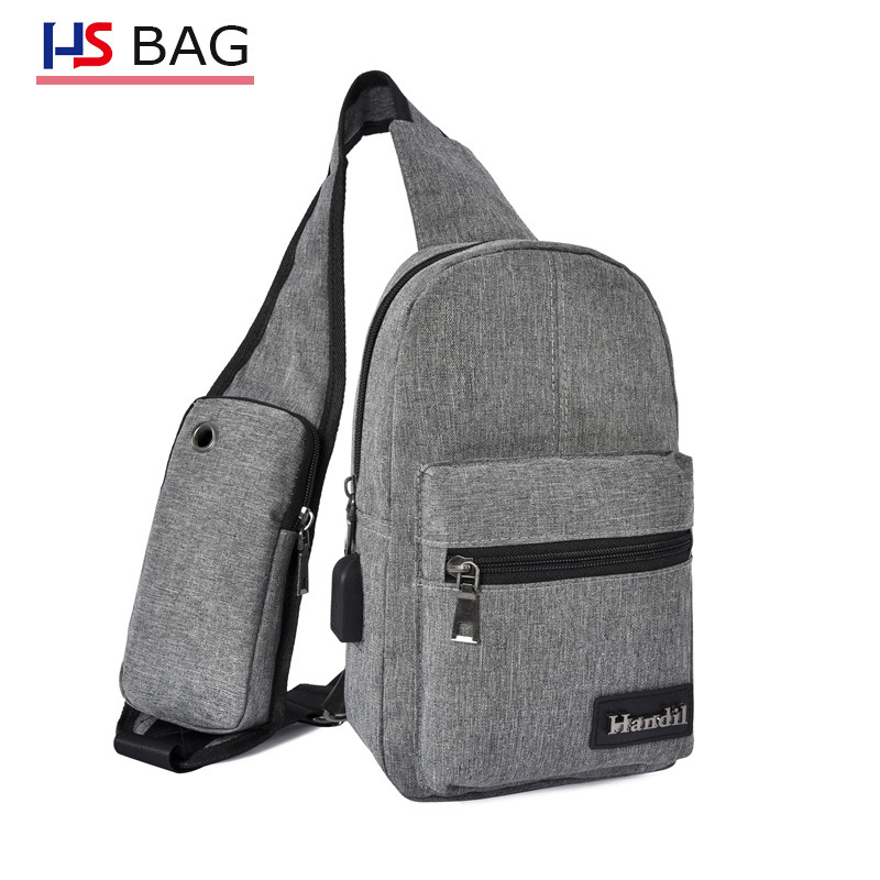Men's Bag Rechargeable Chest Pack Korean-style Waterproof Chest Shoulder Bag Large Capacity USB Casual Bag Outdoor Casual Wallet