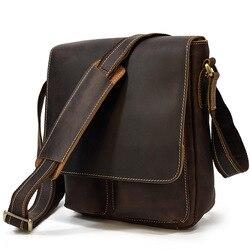 Сумка-мессенджер Crazy Horse мужская из натуральной кожи, саквояж на плечо, Повседневная сумочка-слинг через плечо