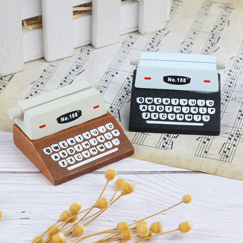 Creative Black Coffee Vintage Wooden Typewriter Photo Card Desk Messege Memo Holder Stand Card Holder
