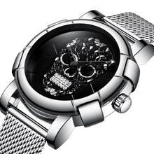 أنيق الرجال الجمجمة ساعة الشرير ثلاثية الأبعاد نمط الذهب ساعة الرجال حجر الراين الفولاذ المقاوم للصدأ موضة عادية ساعة الذكور مقاوم للماء GM244