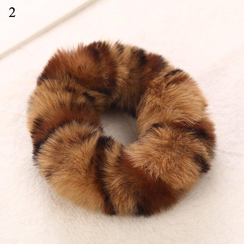 Новые зимние теплые мягкие резинки из кроличьего меха для женщин и девушек, эластичные резинки для волос, плюшевая повязка для волос, резинки, аксессуары для волос - Цвет: 2