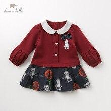 DB11981 dave bella autumn baby girls princess cute floral bow dress children fashion party dress kids infant lolita clothes