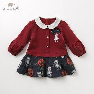 Image 1 - DB11981 dave bella sonbahar bebek kız prenses sevimli çiçek yay elbise çocuk moda parti elbise çocuk bebek lolita giysileri