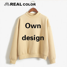 2019 Own design pattern pink women's sweatshirt No cap character print casual pullover cute short coat long sleeve O-neck shirt(China)