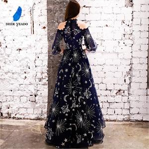Image 2 - DEERVEADO Vintage Pattern A Line Tulle Evening Dresses Long Formal Dress Evening Gown Robe de Soiree YS439