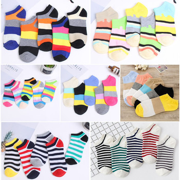 10 pieces = 5 pairs/lot Fashion European Cotton Colorful Striped Girls Ankle Socks Beautiful American Invisible Short Women Sox