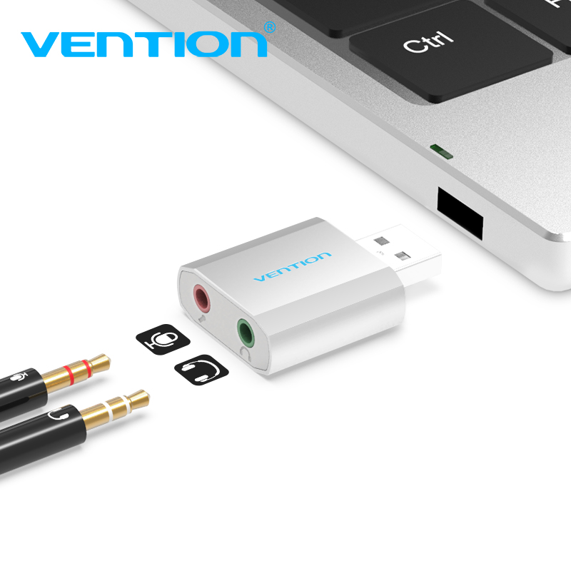 Vention External Sound Card USB To 3.5mm Jack Aux Headset Adapter Stereo Audio Sound Card For Speaker PC Mic Laptop Computer PS4