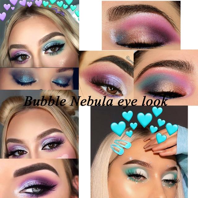 Changeable  Bubble Nebula 18 Colors Eyeshadow Makeup Palette Stunning Multi-reflective Shimmer Glitter Peacock Blue Eye Shadow 5