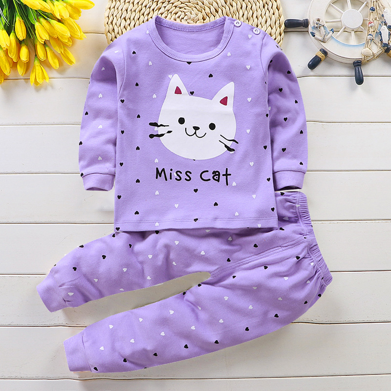 Pajamas Clothing-Set Sleepwear Cotton-Blend Autumn Children Cartoon for Suit Animal Baby title=
