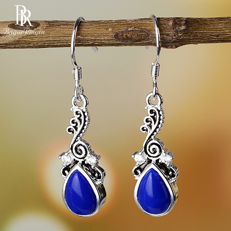 Bague Ringen Silver 925 Water Drop Shaped  Earrings With Blue Sapphire Gemstone Jewelry  Female Anniversary Dating Wedding Gift
