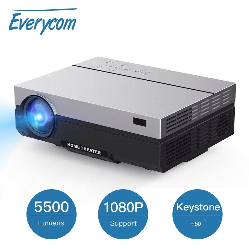 Everycom T26K completo HD Proyector 1920x1080P Proyector portátil de 5500 lúmenes HDMI Beamer Video Proyector LED de cine en casa película