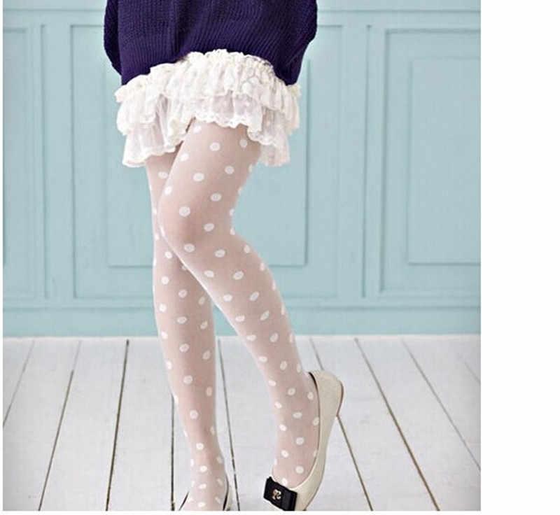 Kadın tayt klasik küçük Polka Dot ipek çorap. Ince bayan Vintage sahte dövme çorap külotlu kadın çorap