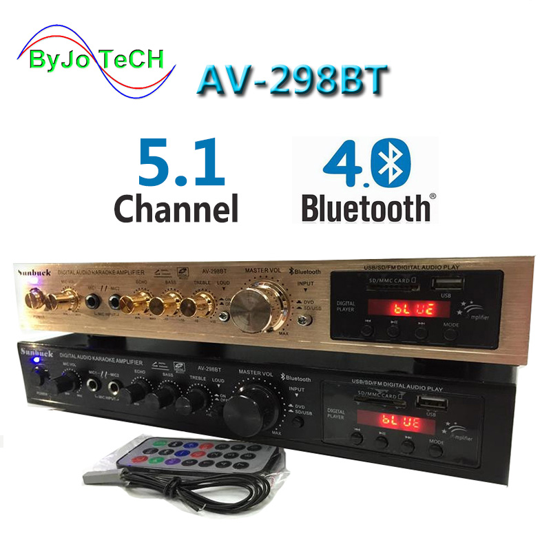 Sunback High Power Amplifier 200W+200W 5.1 Vocal Tract Dual Microphone Reverberation Built In Bluetooth FM Radio Support SD USB