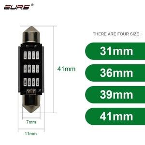 Купольный светильник EURS 31 мм 36 мм 39 мм 41 мм 12SMD 4014 SMD CANBUS, безотказная лампочка для салона автомобиля, лампа для номерного знака, белый красный ...
