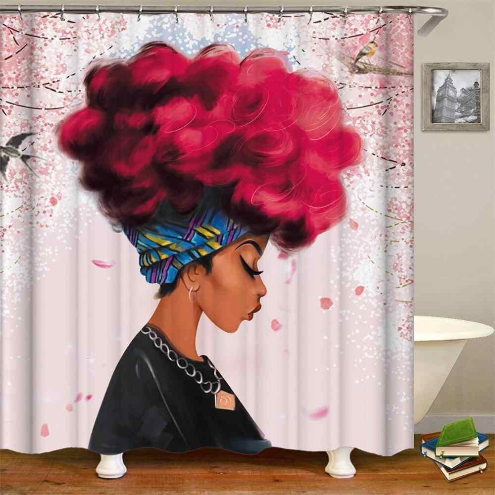 Cortina de ducha para mujeres africanas tela negra americana impermeable de poliéster para niñas cortina de baño de 180x200 cm