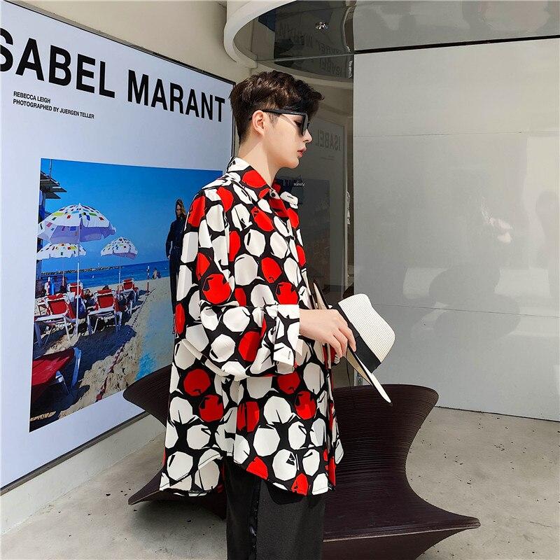 Men Fashion Print Casual Long Sleeve Shirts Male Streetstyle Retro Pattern Loose Dress Shirt Beach Shirt