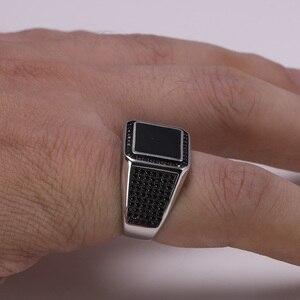 Image 3 - אמיתי 925 כסף סטרלינג טבעות לגברים מיקרו סלול זירקון אבן Biker גברים טבעת חותם שחור טורקיה תכשיטים