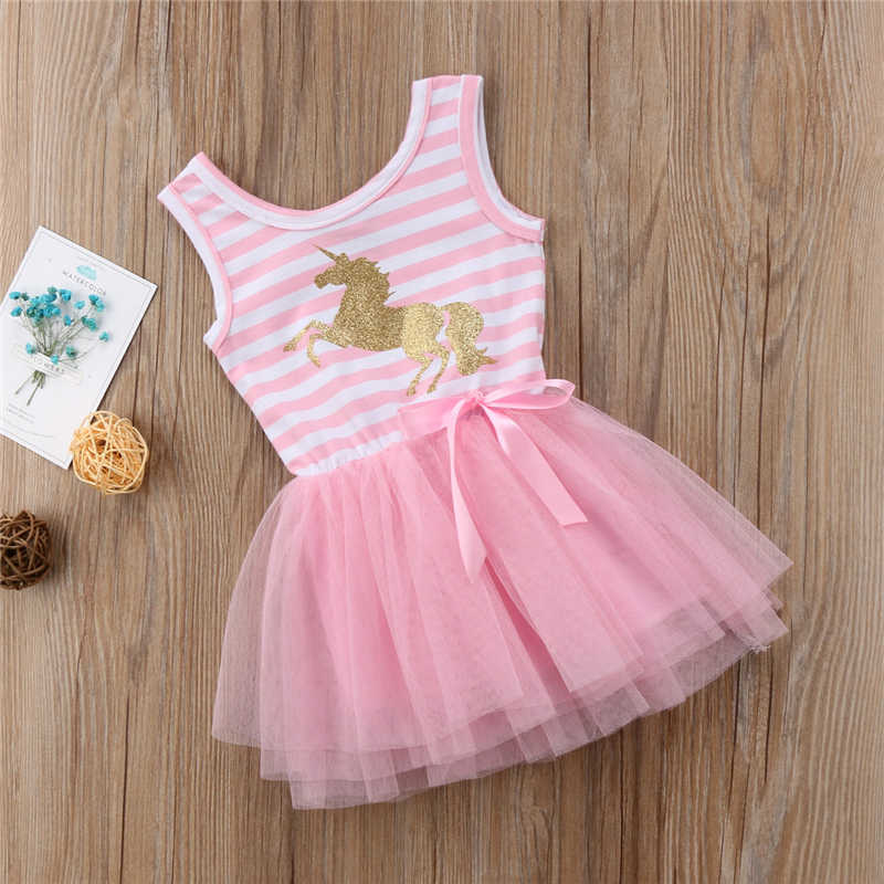 かわいいユニコーン女の赤ちゃんストライプノースリーブパーティー結婚式チュチュチュールドレスベビー夏服1-5Y