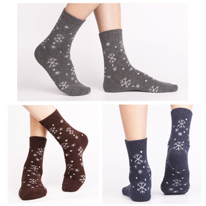Image 4 - 5 Pairs/Lot Wool Socks Women Winter Snow Flower Pattern Cashmere Warm Socks Ladies Girls Christmas Gift