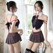 Women Sexy Student Cosplay Costumes Lingerie Hot Babydoll Erotic Underwear Bow Lenceria Erotica Plaid Uniform Temptation Female