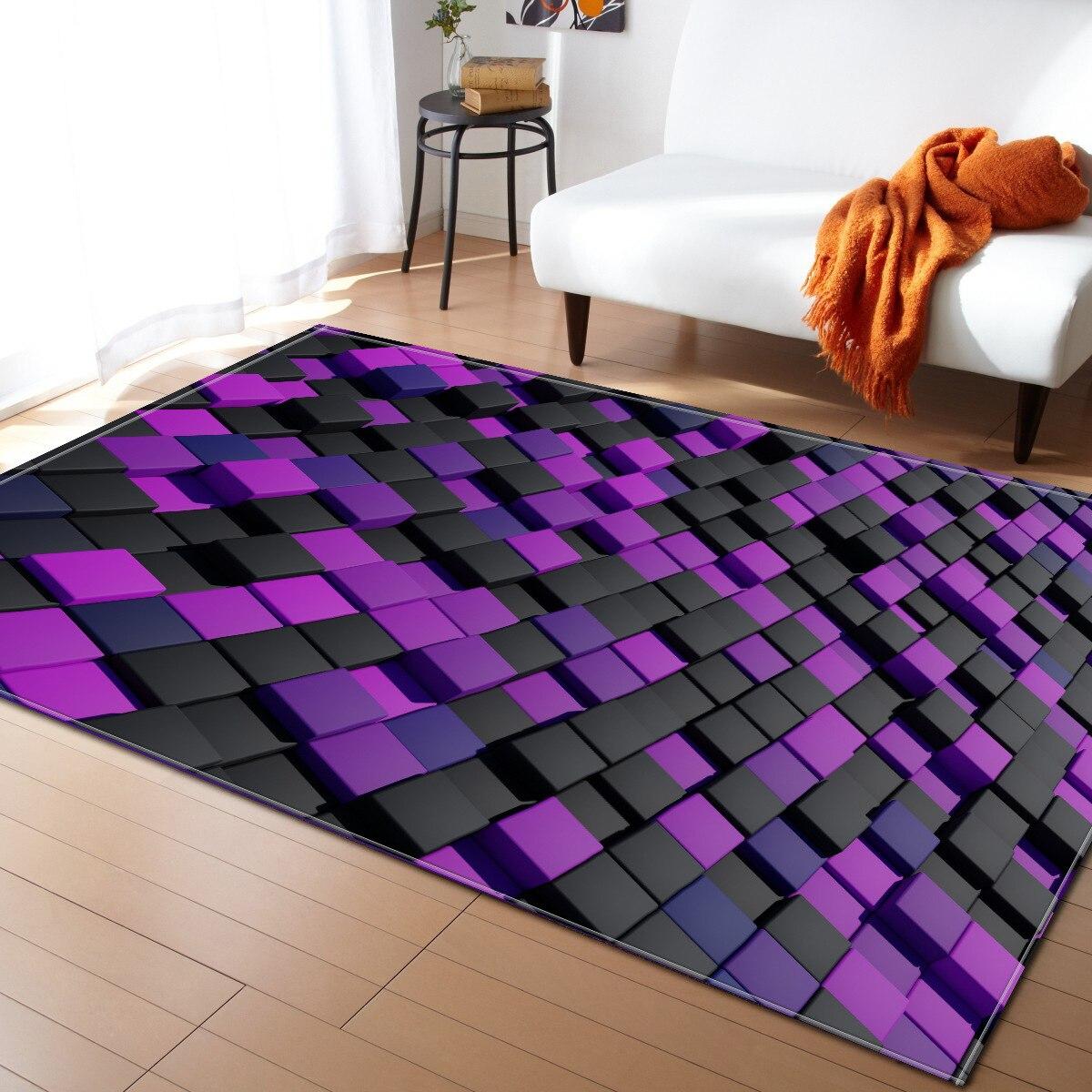 T noir tapis et tapis pour la maison salon 3D salon salon tapis de sol anti-dérapant chambre tapis grande couverture pour la décoration intérieure