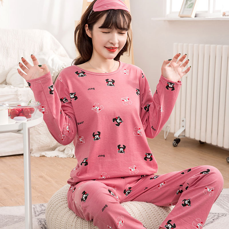 Shakespeare Fort Metoprolol-Selectable Spring And Autumn Korean-style High Quality Cotton Pajamas Women Long Sleeve Trousers Swe